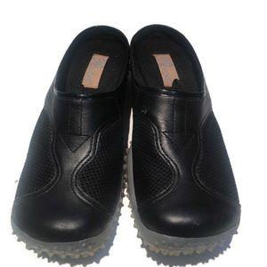 Provoke Leather etc. black, slip on shoes, size 8